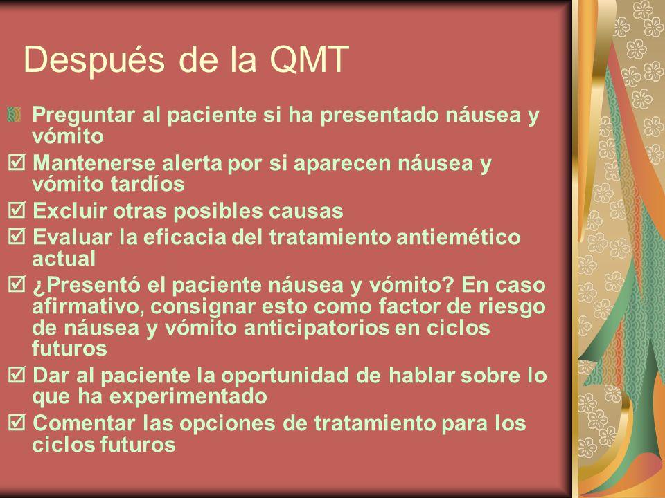 Después de la QMT Preguntar al paciente si ha presentado náusea y vómito.  Mantenerse alerta por si aparecen náusea y vómito tardíos.