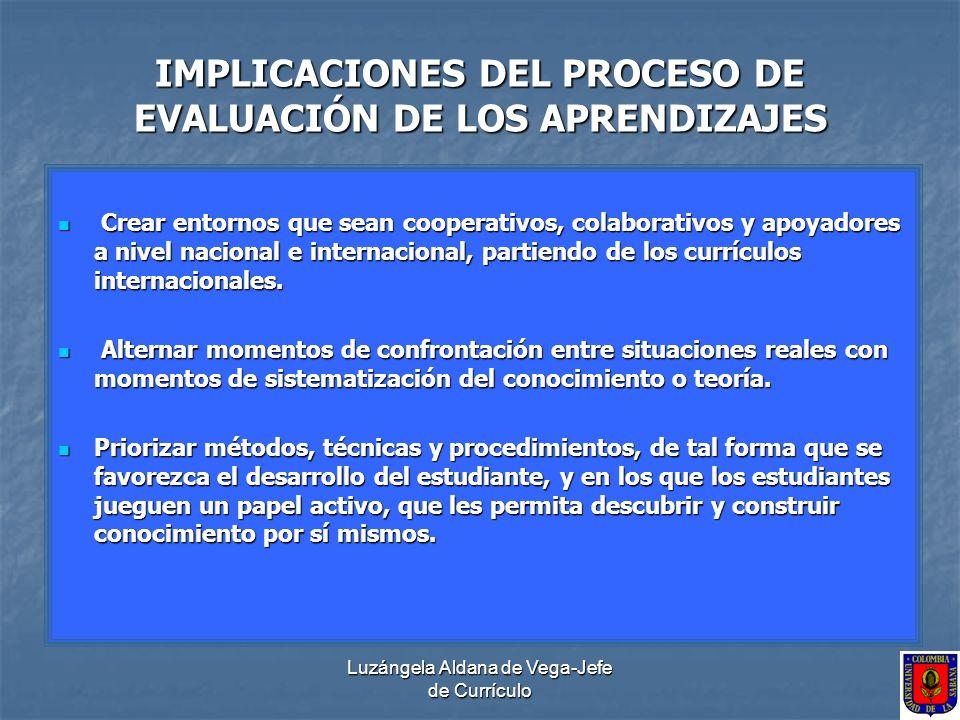IMPLICACIONES DEL PROCESO DE EVALUACIÓN DE LOS APRENDIZAJES