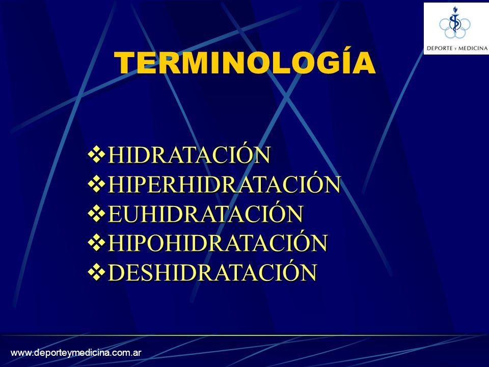 TERMINOLOGÍA HIDRATACIÓN HIPERHIDRATACIÓN EUHIDRATACIÓN