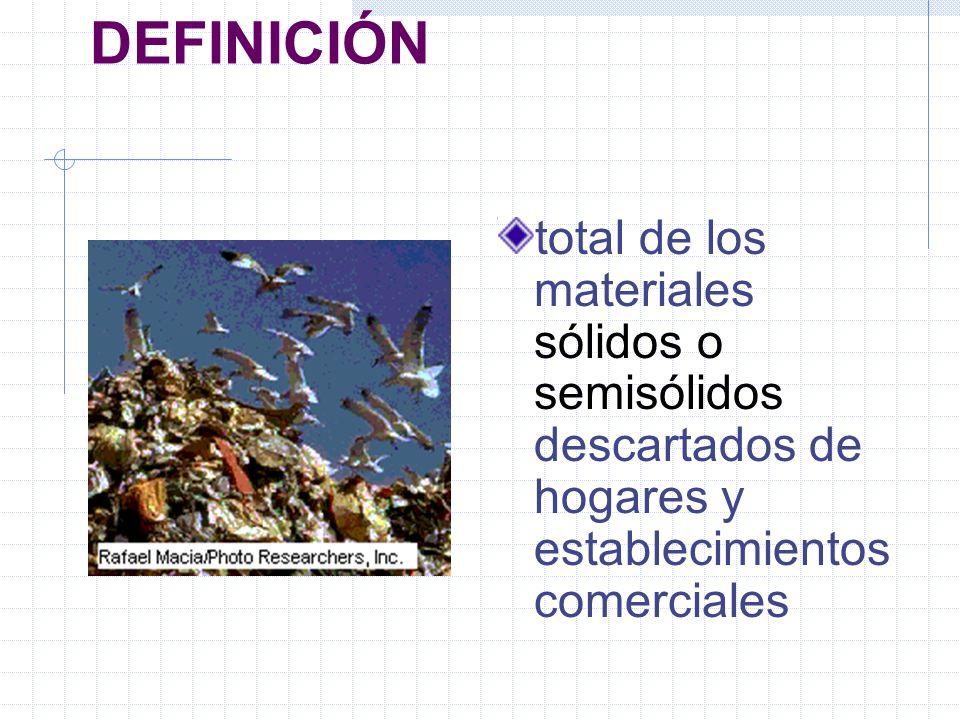DEFINICIÓN total de los materiales sólidos o semisólidos descartados de hogares y establecimientos comerciales.