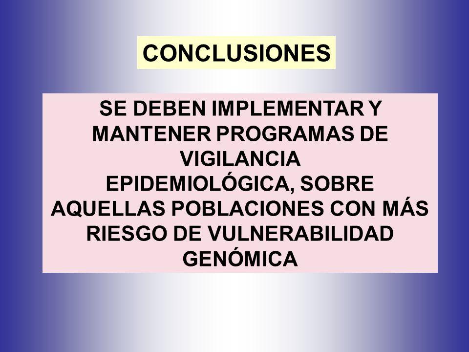 CONCLUSIONES SE DEBEN IMPLEMENTAR Y MANTENER PROGRAMAS DE VIGILANCIA