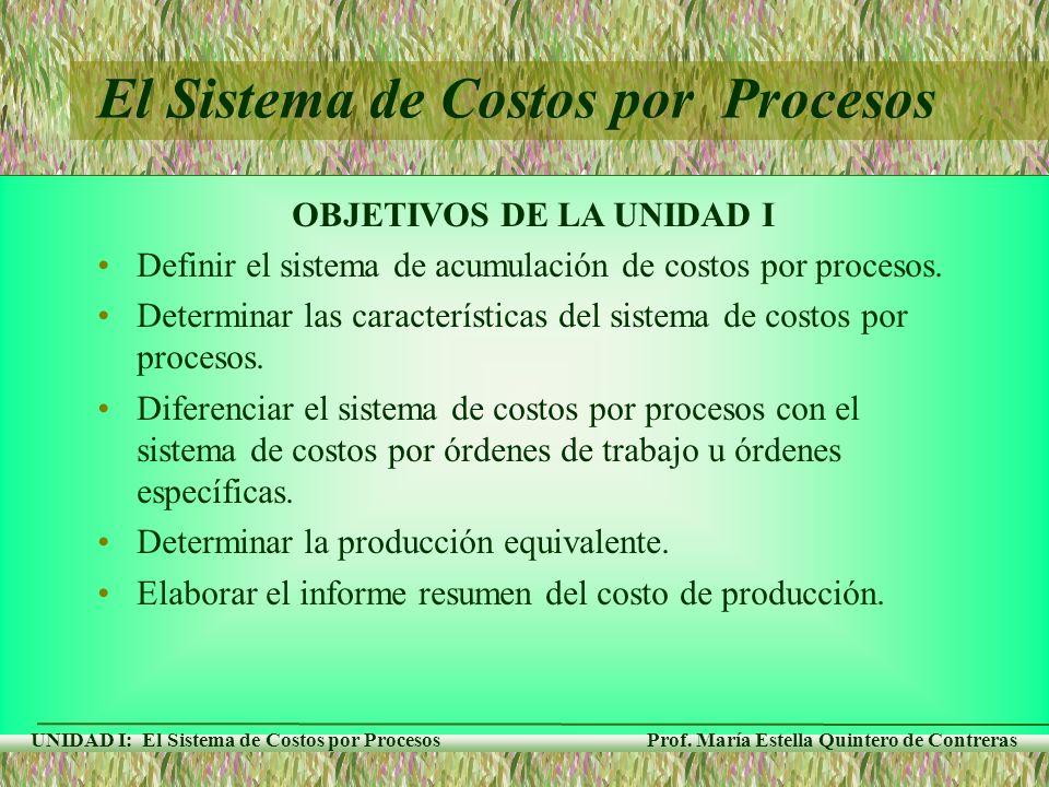 El Sistema de Costos por Procesos