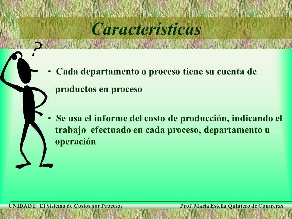 Características Cada departamento o proceso tiene su cuenta de