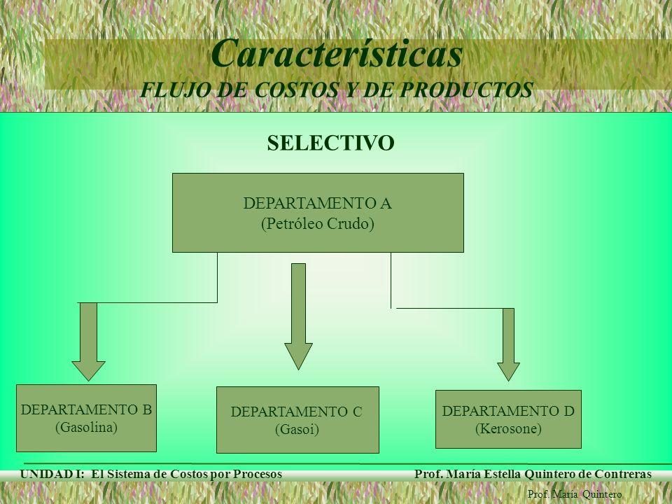 Características FLUJO DE COSTOS Y DE PRODUCTOS