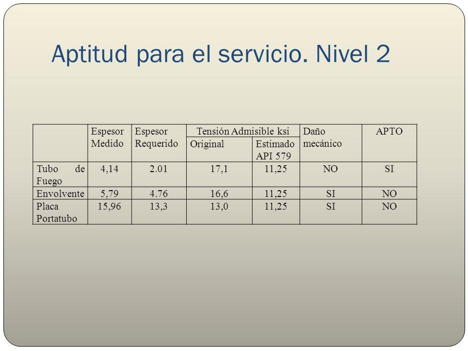 Aptitud para el servicio. Nivel 2