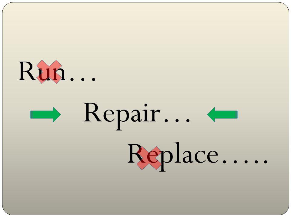 Run… Repair… Replace….. Estos resultados indican que el equipo no es apto para el servicio. (no podemos arrancar)