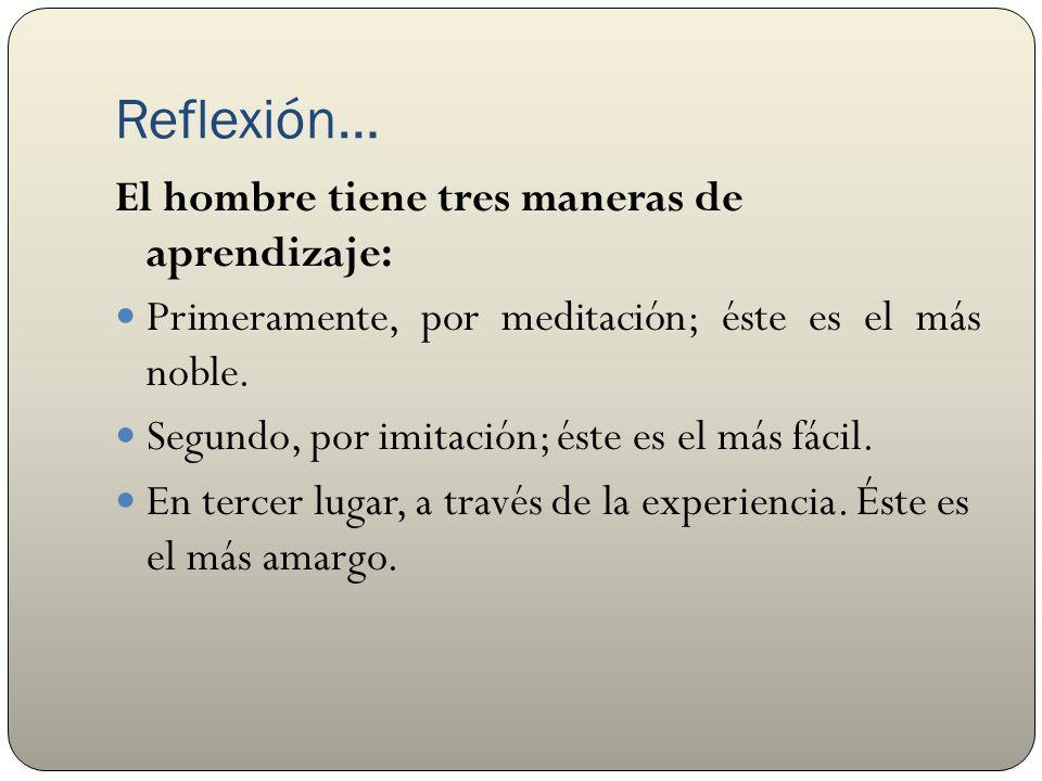 Reflexión… El hombre tiene tres maneras de aprendizaje: