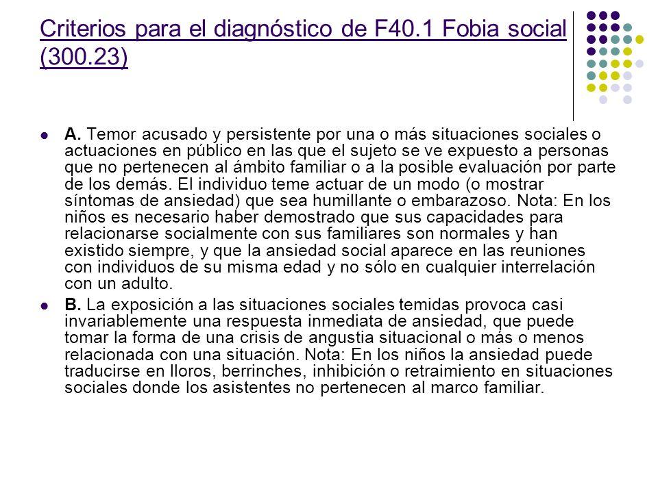 Criterios para el diagnóstico de F40.1 Fobia social (300.23)