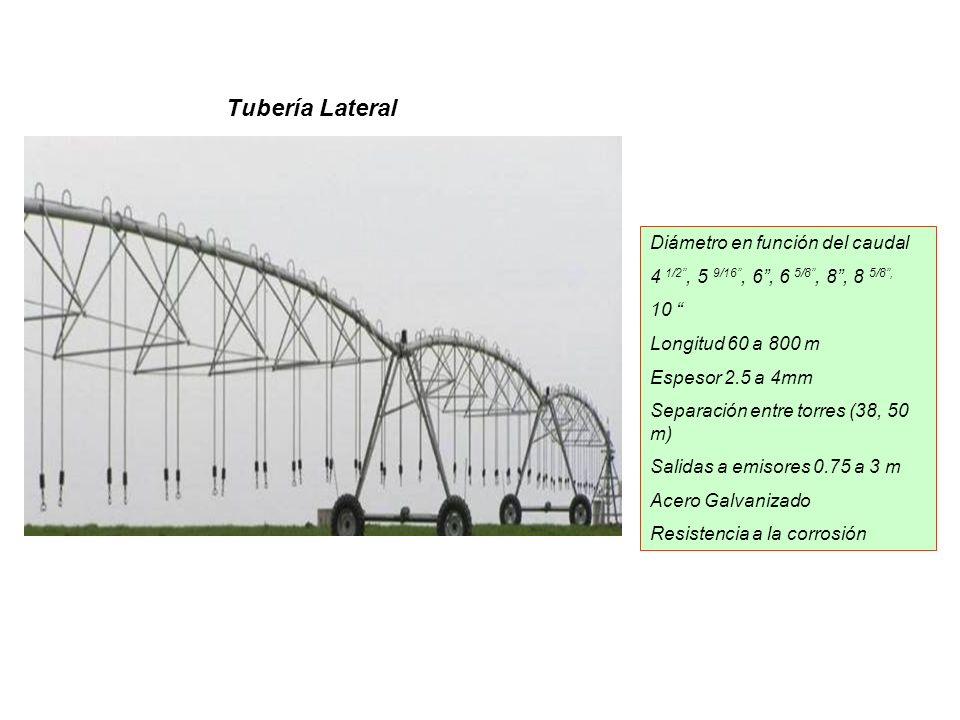 Tubería Lateral Diámetro en función del caudal