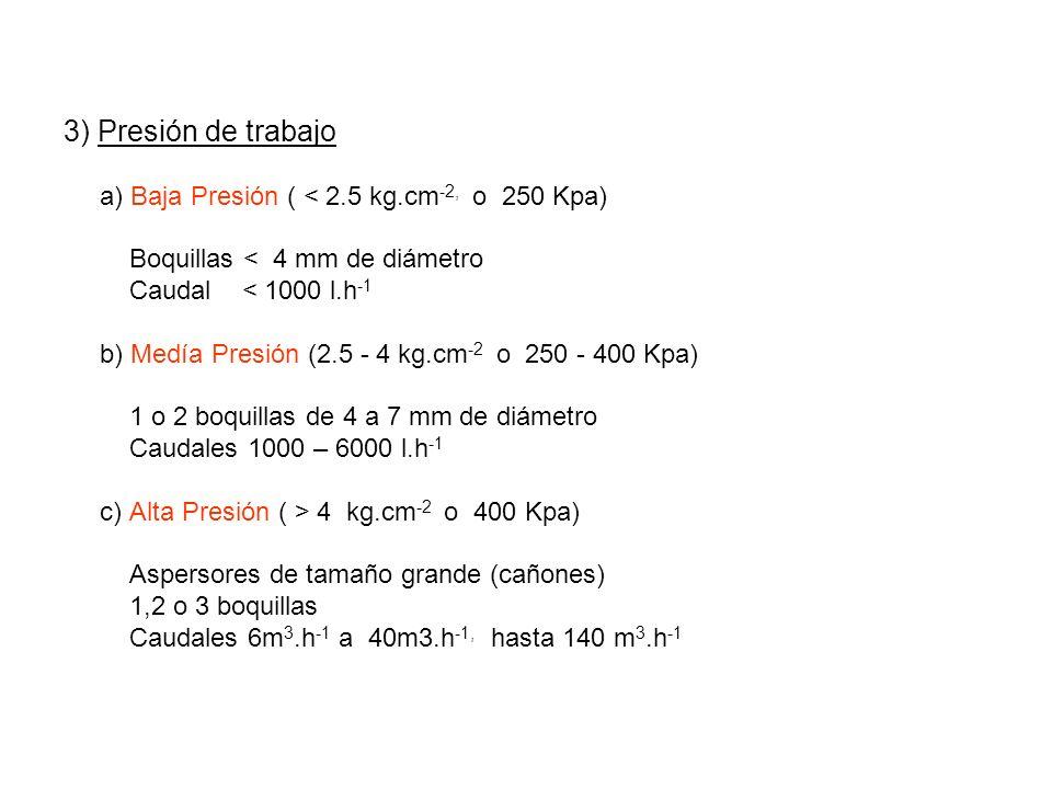 3) Presión de trabajo a) Baja Presión ( < 2.5 kg.cm-2, o 250 Kpa)