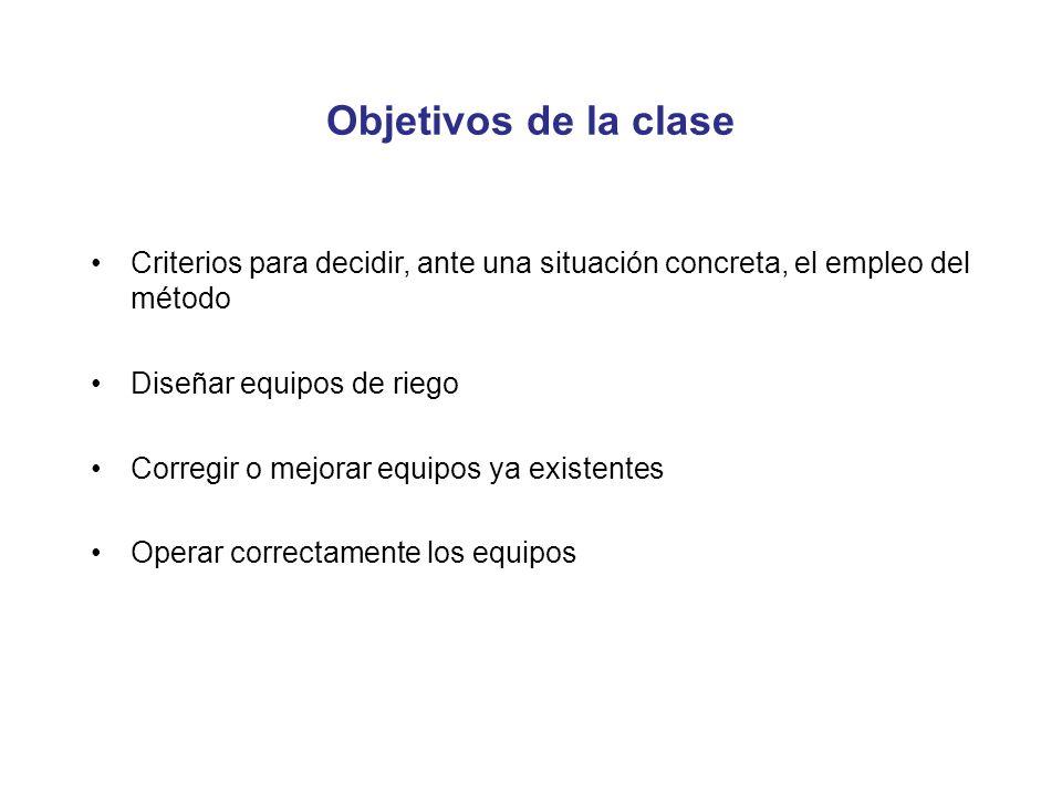 Objetivos de la clase Criterios para decidir, ante una situación concreta, el empleo del método. Diseñar equipos de riego.