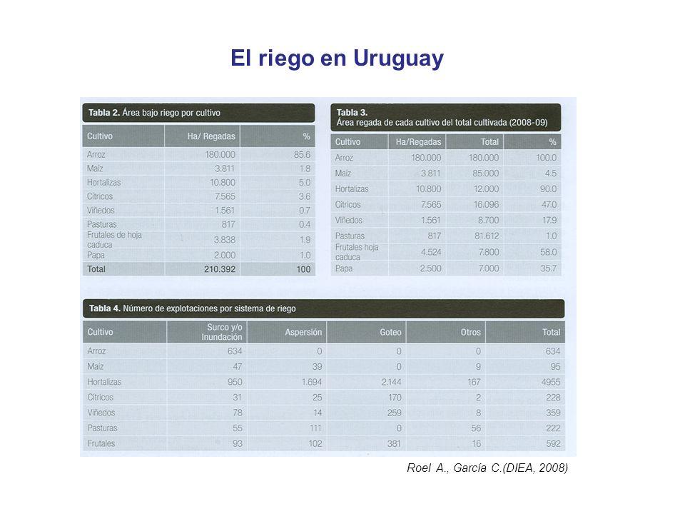 El riego en Uruguay Roel A., García C.(DIEA, 2008)