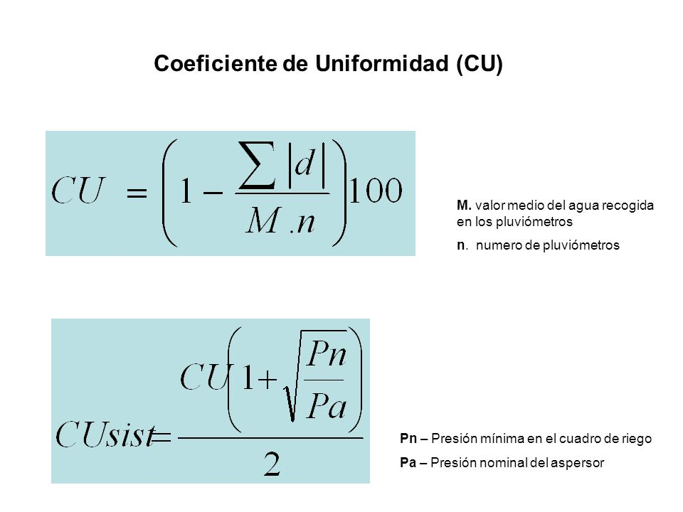 Coeficiente de Uniformidad (CU)