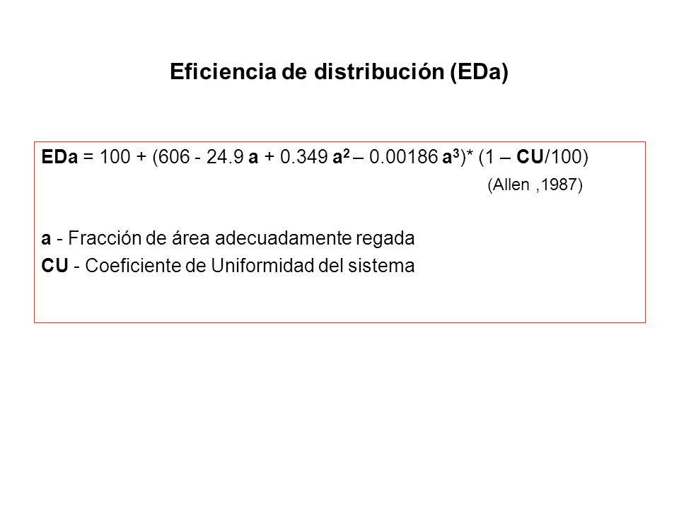 Eficiencia de distribución (EDa)