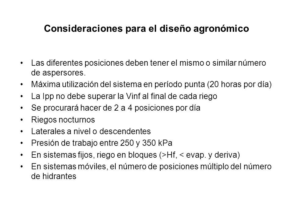 Consideraciones para el diseño agronómico