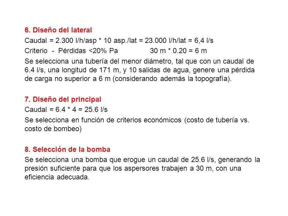 6. Diseño del lateral Caudal = 2.300 l/h/asp * 10 asp./lat = 23.000 l/h/lat = 6,4 l/s.