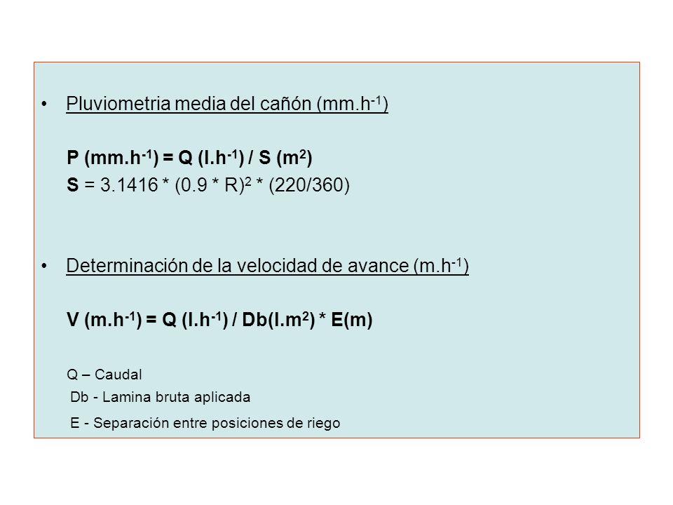 Pluviometria media del cañón (mm.h-1) P (mm.h-1) = Q (l.h-1) / S (m2)