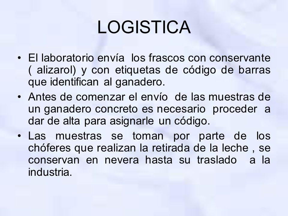 LOGISTICA El laboratorio envía los frascos con conservante ( alizarol) y con etiquetas de código de barras que identifican al ganadero.