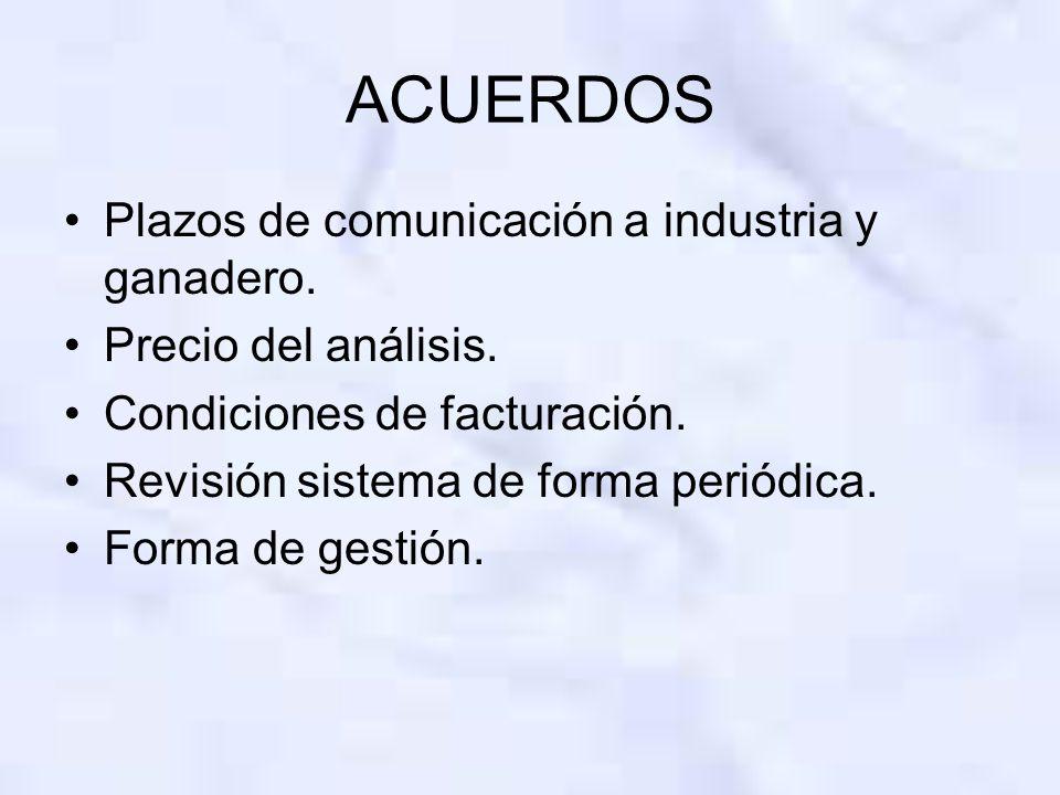 ACUERDOS Plazos de comunicación a industria y ganadero.