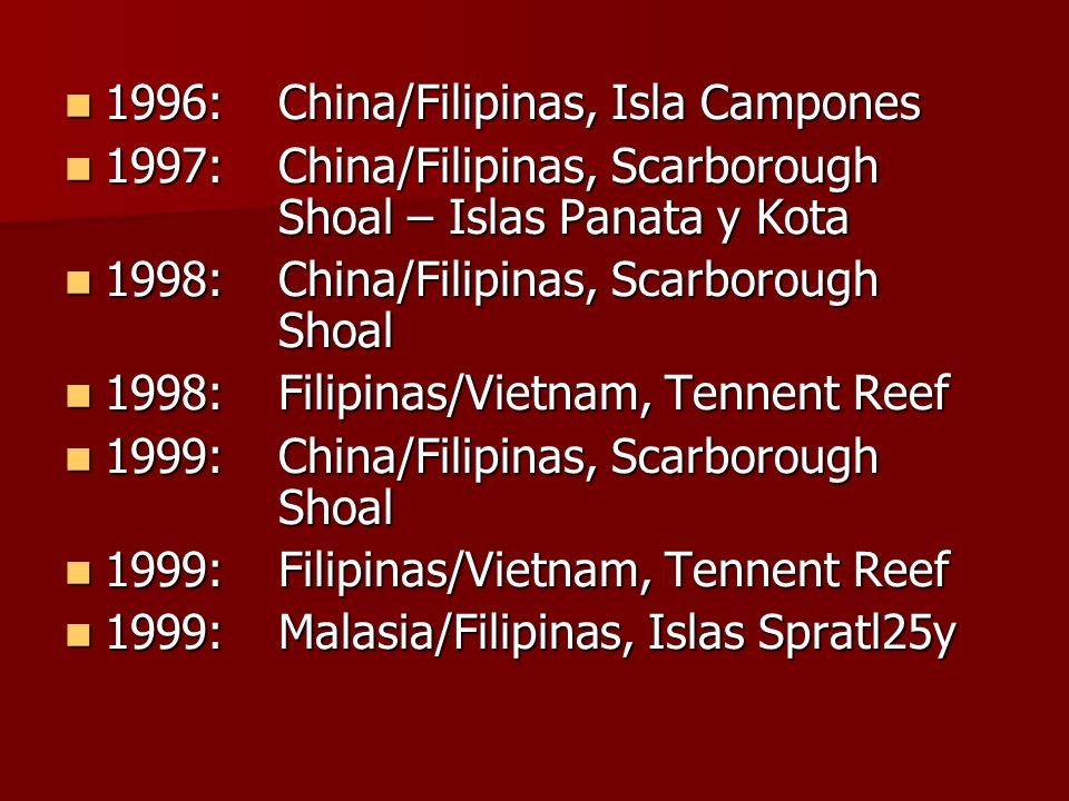 1996: China/Filipinas, Isla Campones