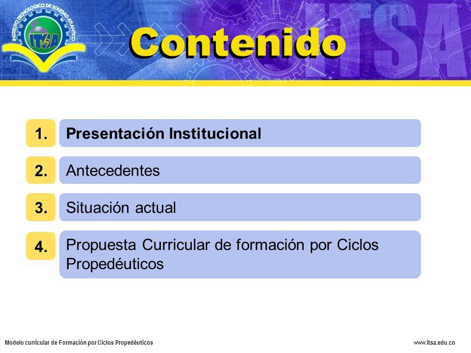 Contenido Contenido 1. Presentación Institucional 2. Antecedentes 3.