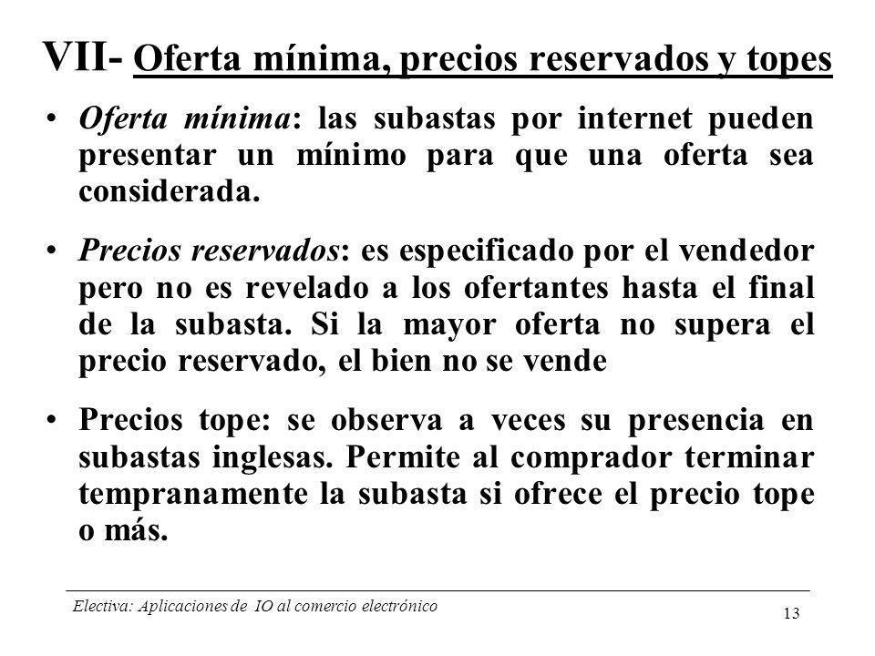 VII- Oferta mínima, precios reservados y topes