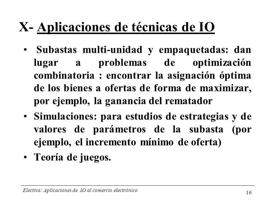 X- Aplicaciones de técnicas de IO