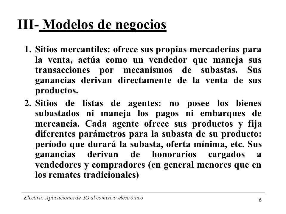 III- Modelos de negocios