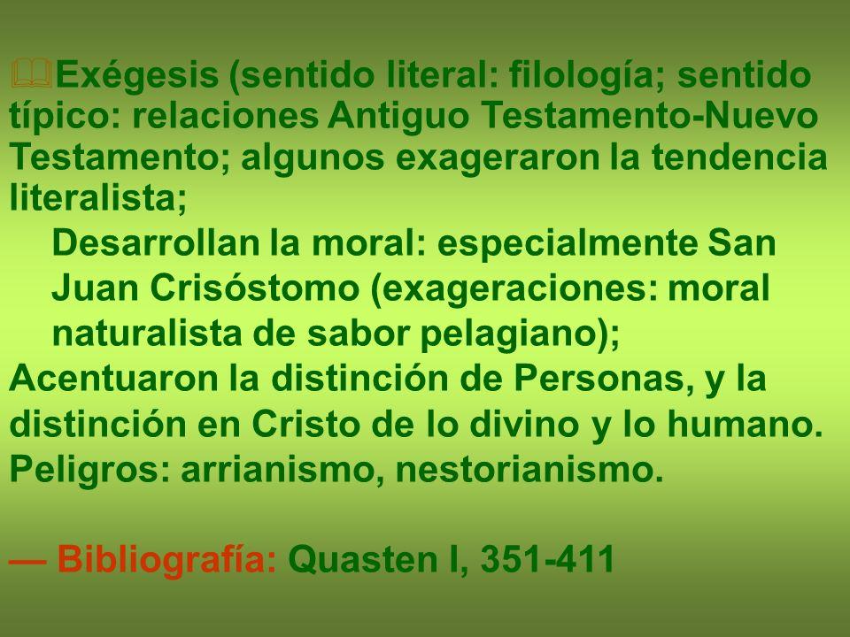 Exégesis (sentido literal: filología; sentido típico: relaciones Antiguo Testamento-Nuevo Testamento; algunos exageraron la tendencia literalista;