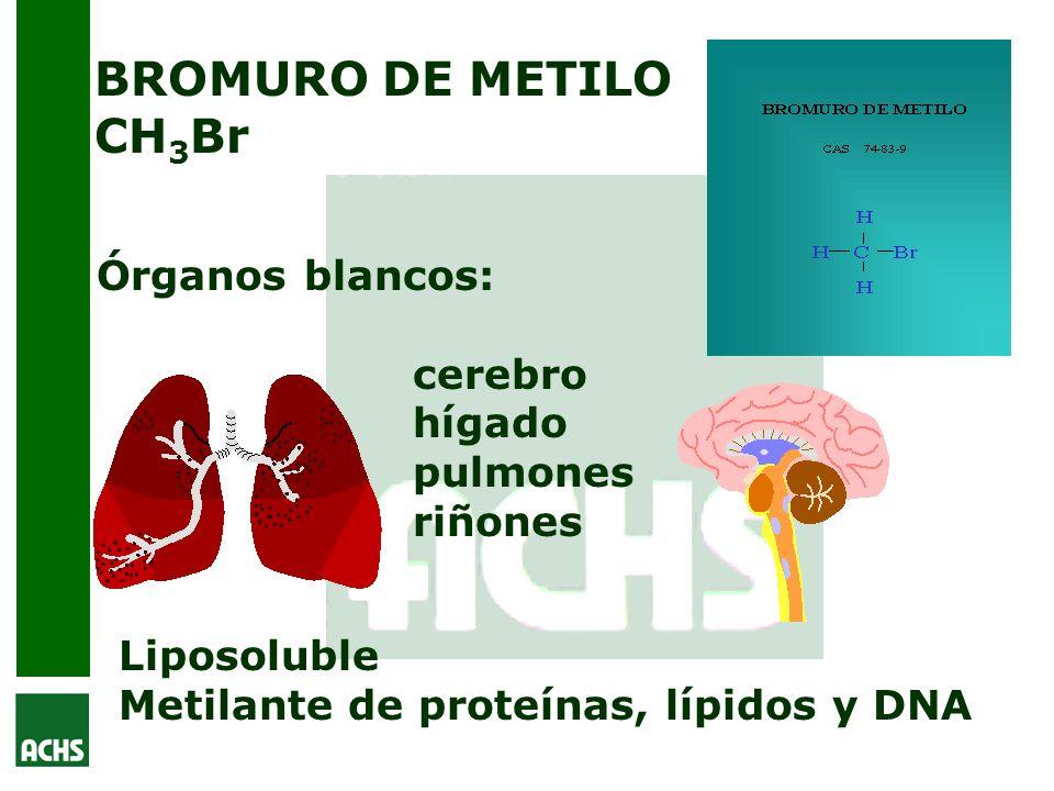 BROMURO DE METILO CH3Br Órganos blancos: cerebro hígado pulmones riñones.