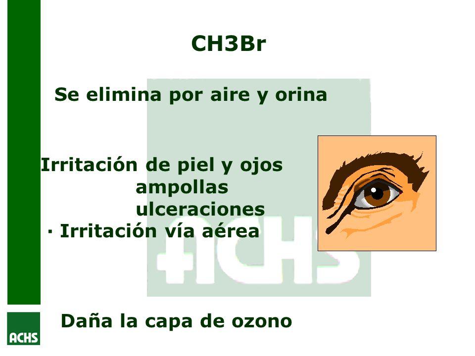 CH3Br Se elimina por aire y orina