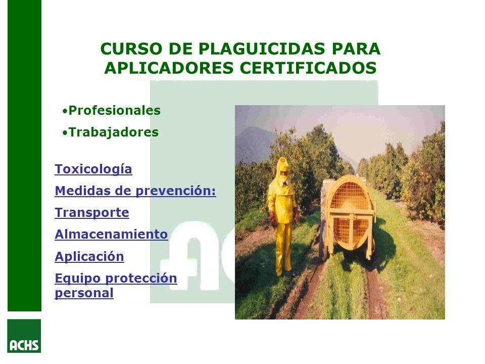 CURSO DE PLAGUICIDAS PARA APLICADORES CERTIFICADOS