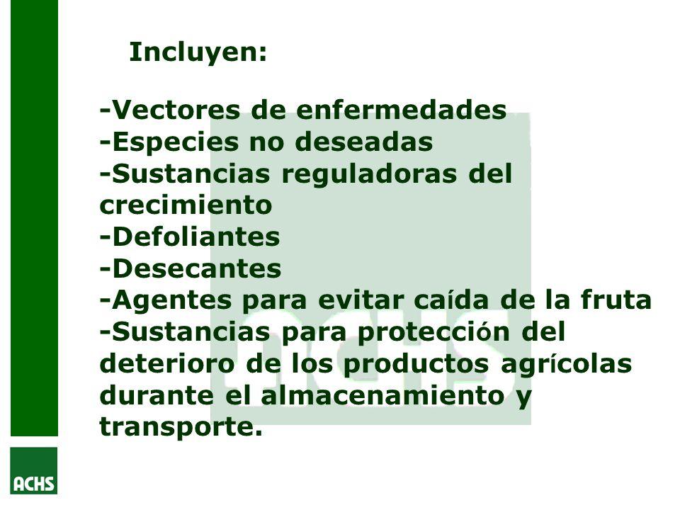 Incluyen:-Vectores de enfermedades -Especies no deseadas -Sustancias reguladoras del crecimiento. -Defoliantes.