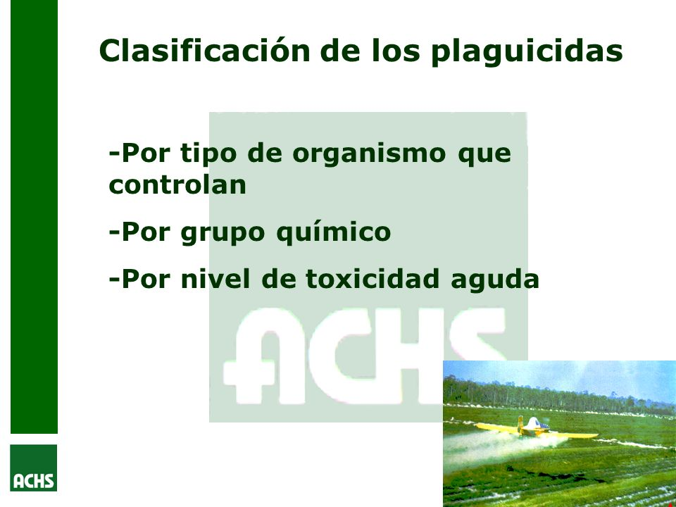 Clasificación de los plaguicidas