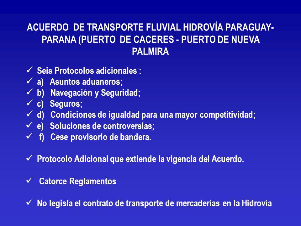 ACUERDO DE TRANSPORTE FLUVIAL HIDROVÍA PARAGUAY-PARANA (PUERTO DE CACERES - PUERTO DE NUEVA PALMIRA