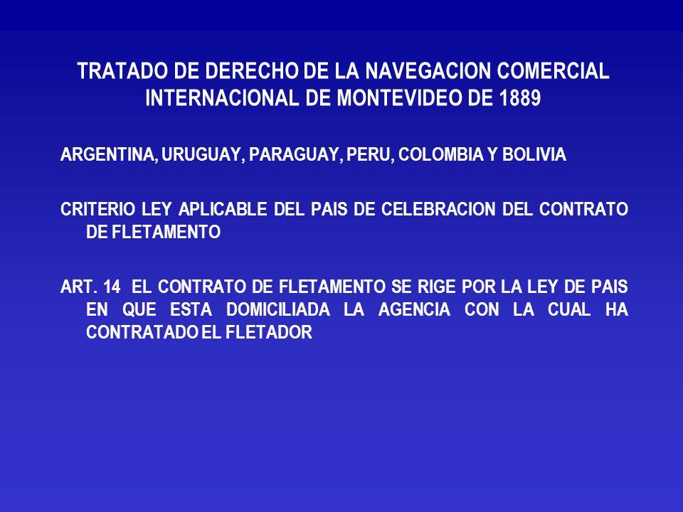 TRATADO DE DERECHO DE LA NAVEGACION COMERCIAL INTERNACIONAL DE MONTEVIDEO DE 1889
