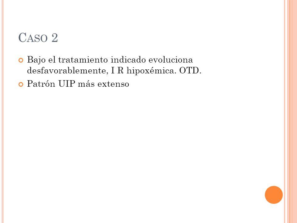 Caso 2 Bajo el tratamiento indicado evoluciona desfavorablemente, I R hipoxémica.