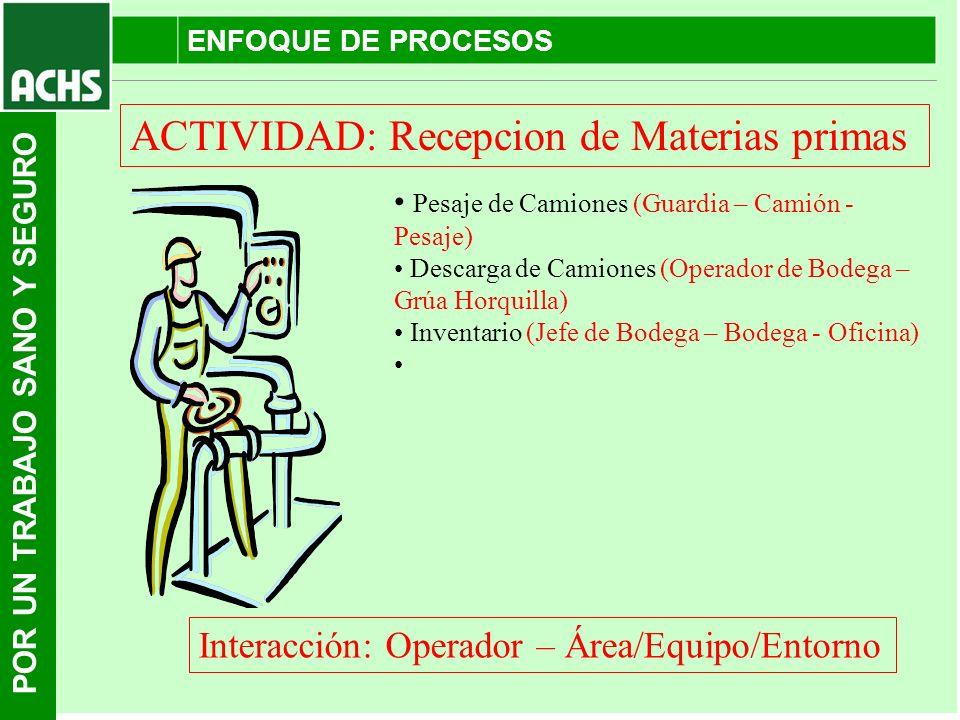 ACTIVIDAD: Recepcion de Materias primas