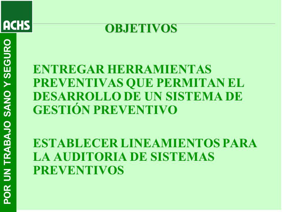 OBJETIVOS ENTREGAR HERRAMIENTAS PREVENTIVAS QUE PERMITAN EL DESARROLLO DE UN SISTEMA DE GESTIÓN PREVENTIVO.
