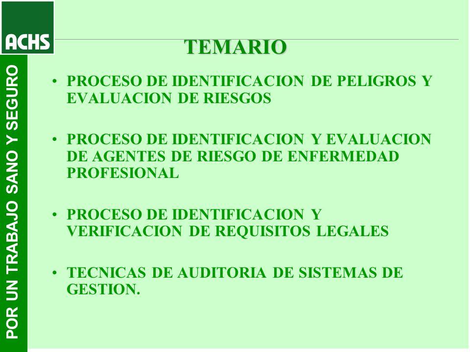 TEMARIO PROCESO DE IDENTIFICACION DE PELIGROS Y EVALUACION DE RIESGOS