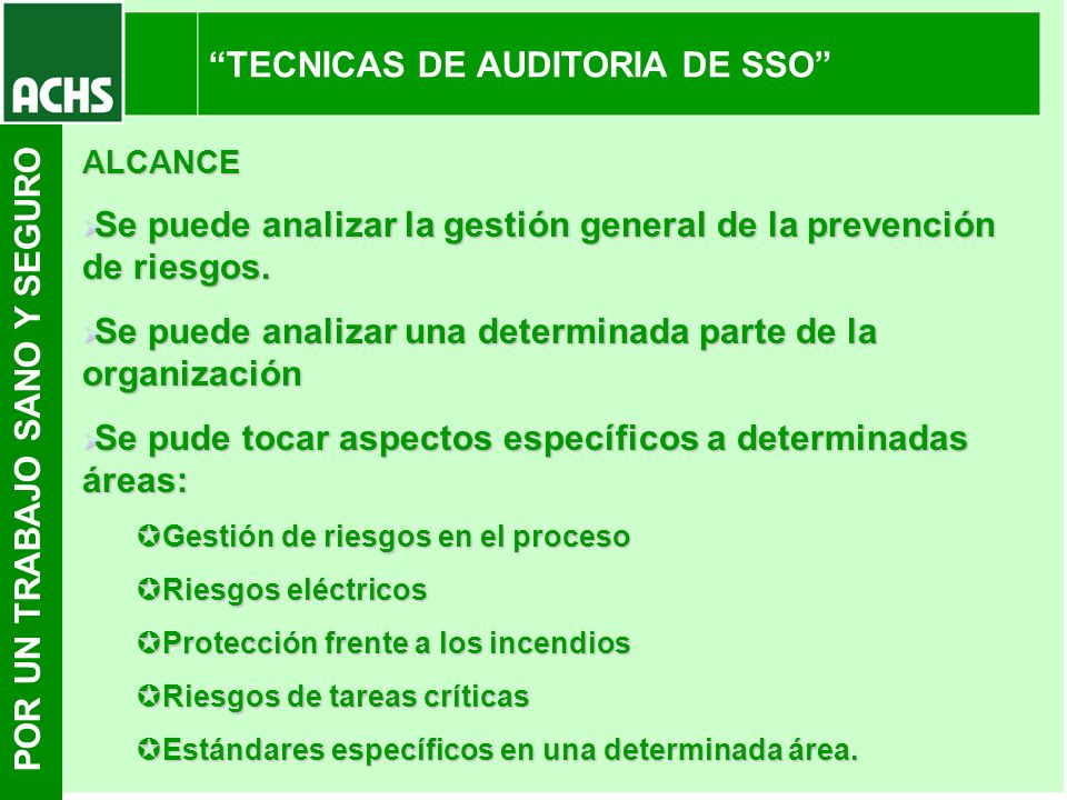 TECNICAS DE AUDITORIA DE SSO