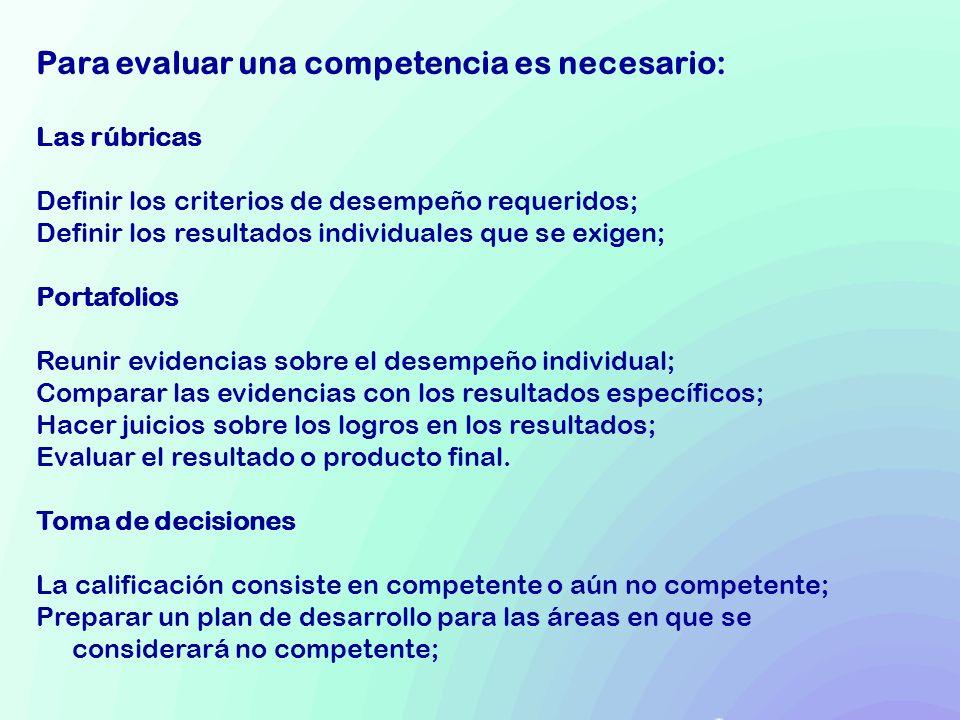 Para evaluar una competencia es necesario: