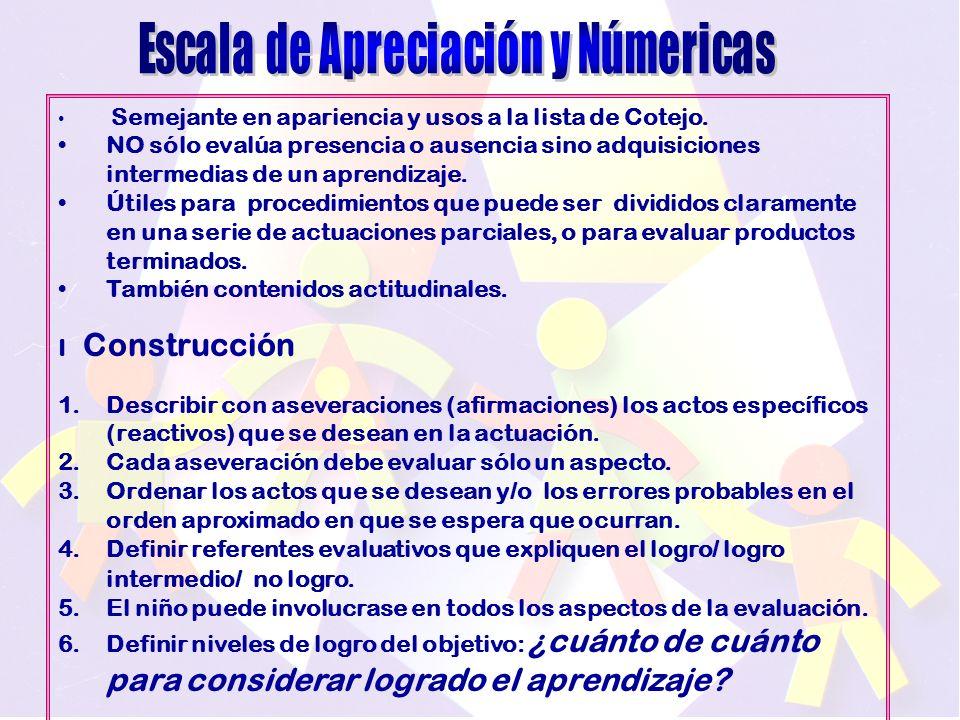 Escala de Apreciación y Númericas