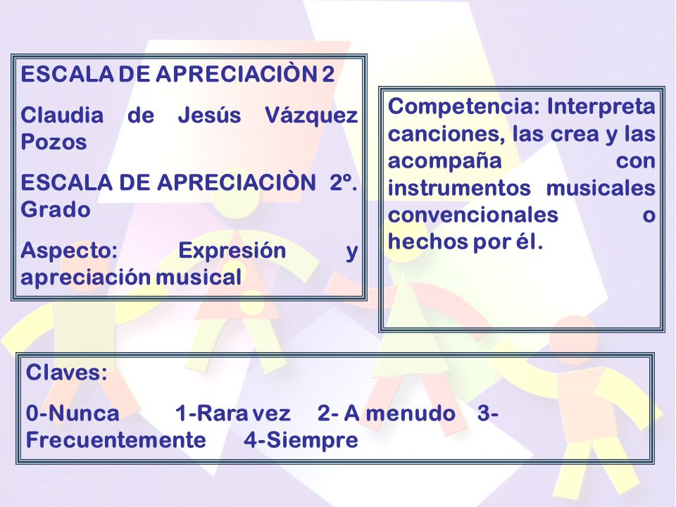 ESCALA DE APRECIACIÒN 2 Claudia de Jesús Vázquez Pozos. ESCALA DE APRECIACIÒN 2º. Grado. Aspecto: Expresión y apreciación musical.