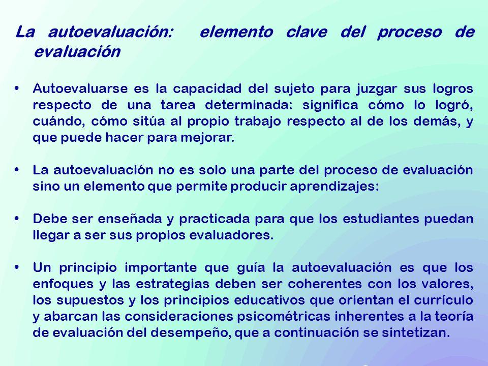 La autoevaluación: elemento clave del proceso de evaluación