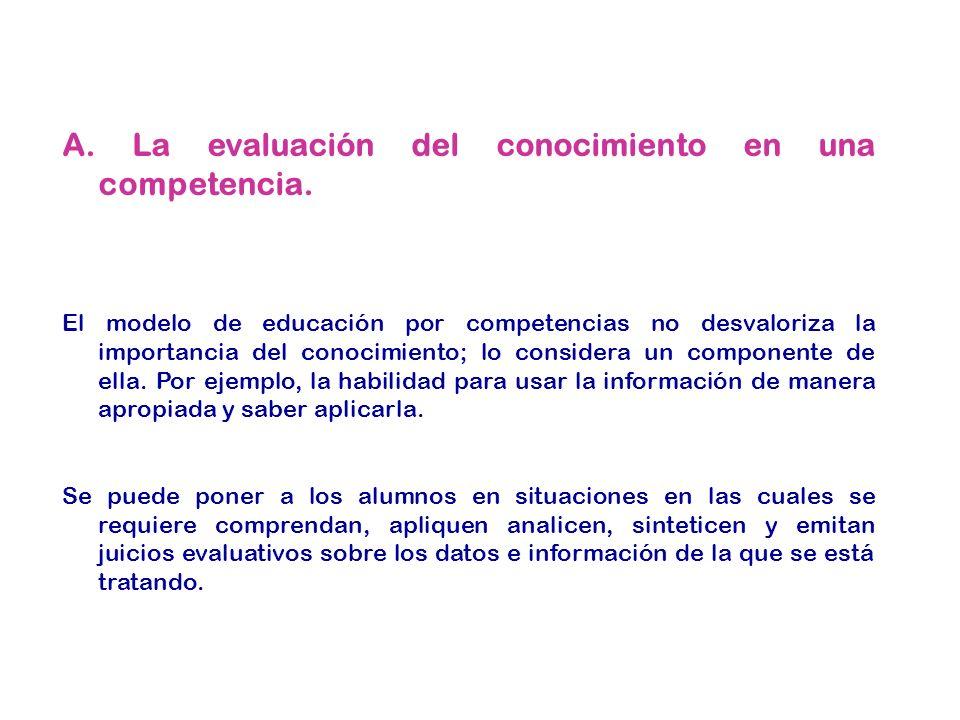 A. La evaluación del conocimiento en una competencia.