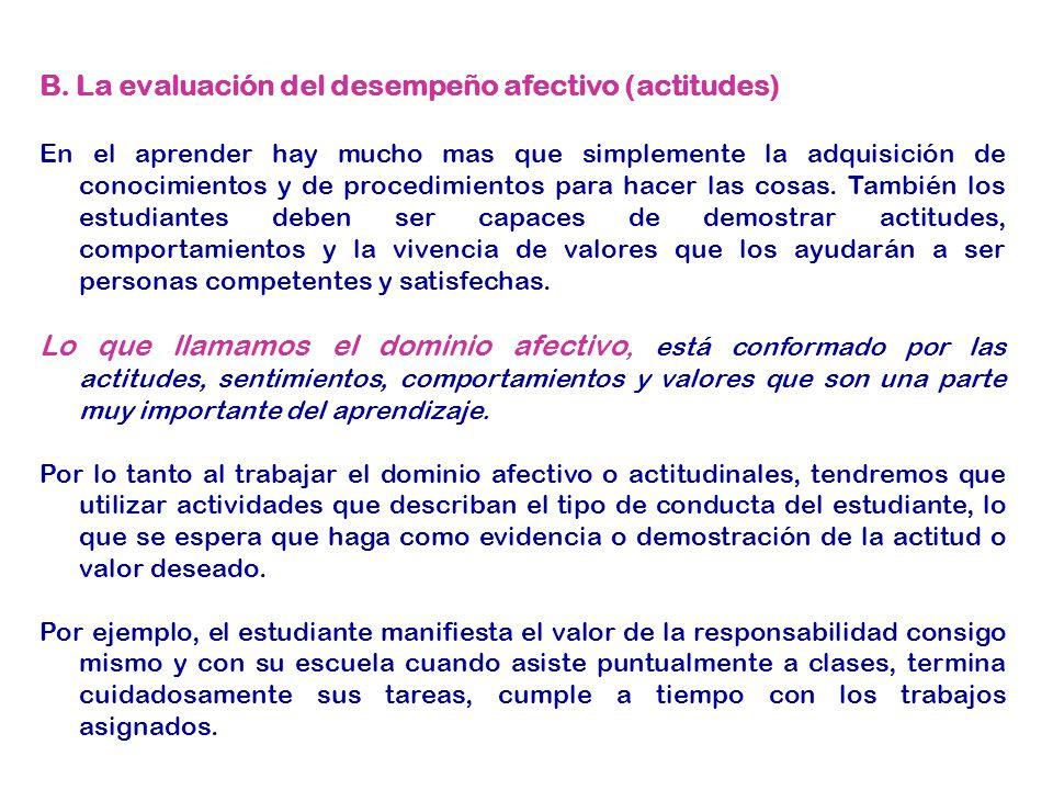 B. La evaluación del desempeño afectivo (actitudes)