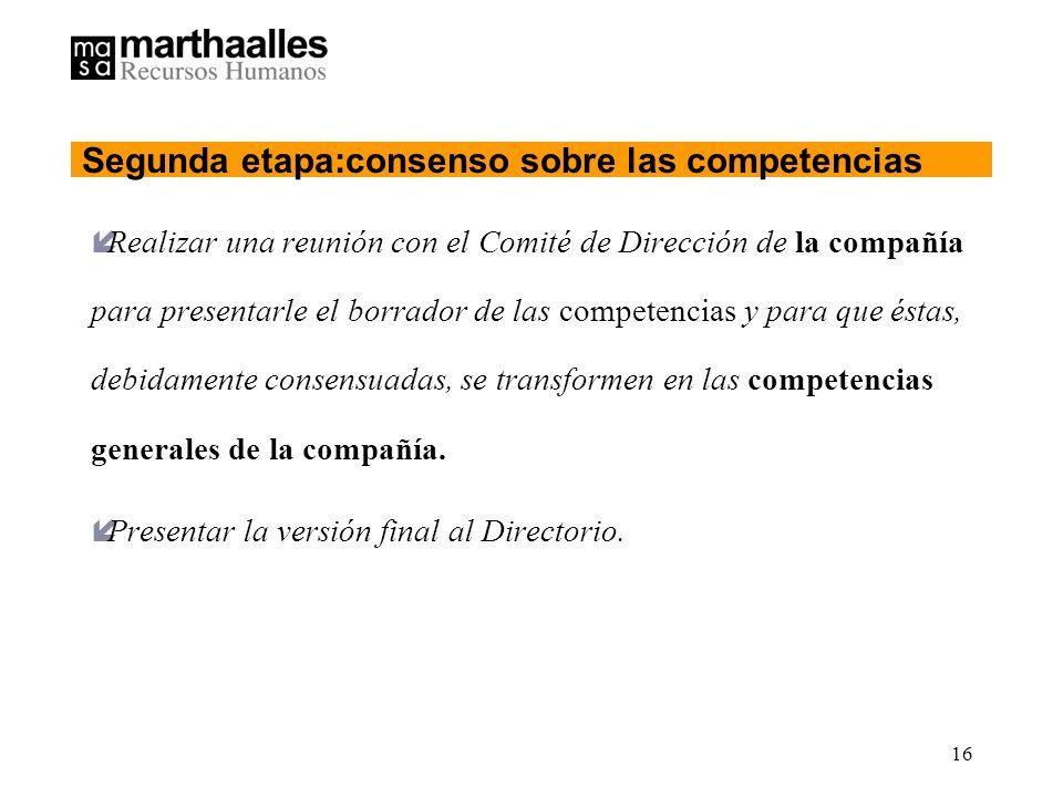 Segunda etapa:consenso sobre las competencias