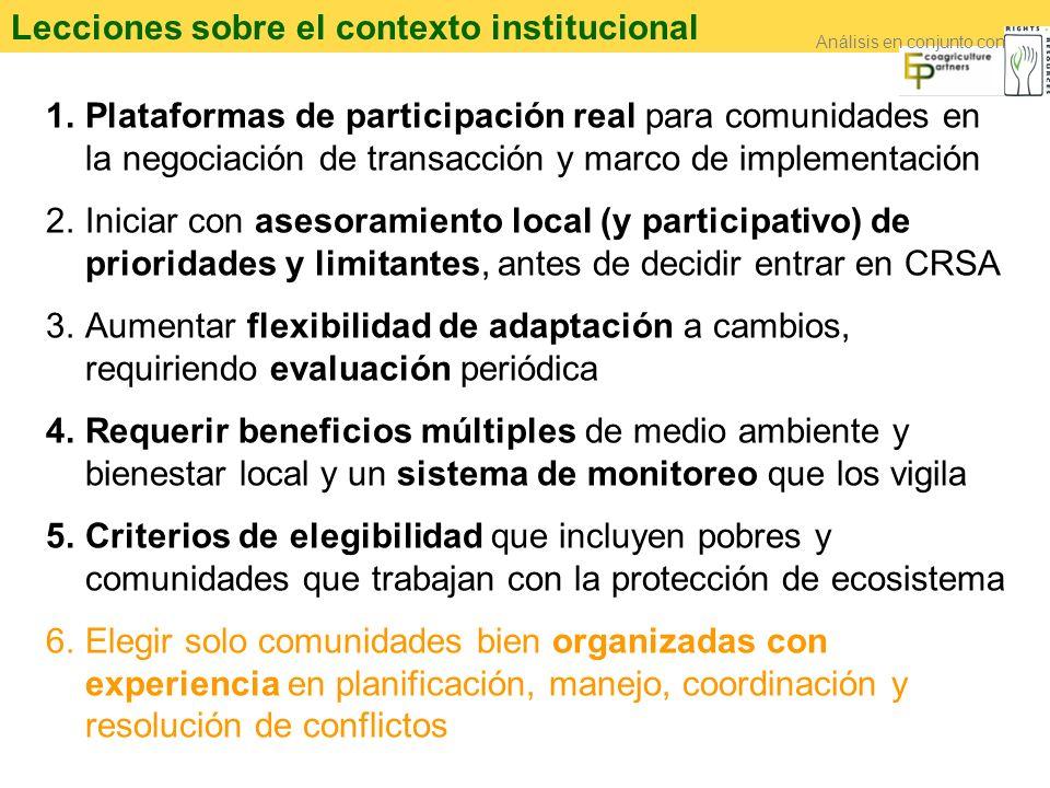 Lecciones sobre el contexto institucional