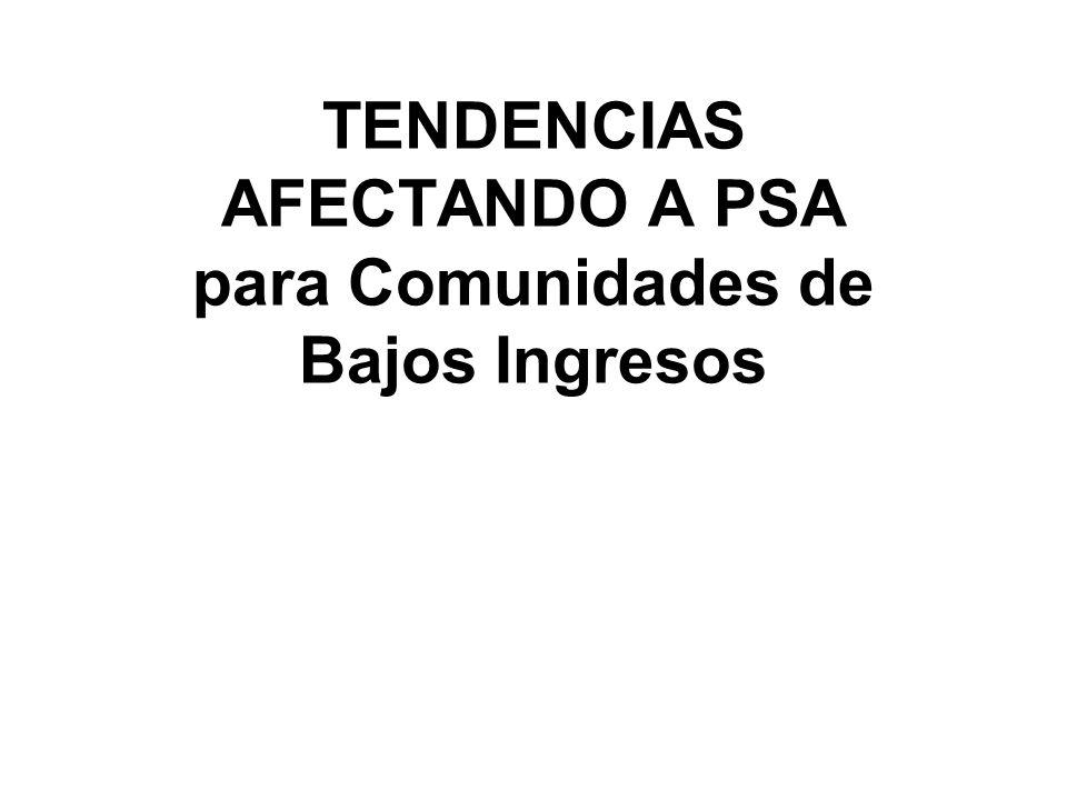TENDENCIAS AFECTANDO A PSA para Comunidades de Bajos Ingresos